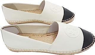 Tory Burch 汤丽柏琦 74078 象牙白/黑色 Benton 拼色帆布便鞋 纳帕革 女式平底鞋