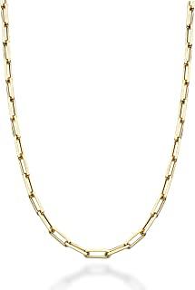 Miabella 实心 18K 金纯银意大利钻石切割回形针链女士男士项链,40.64、45.72、50.8、55.88、60.96、66.04、76.2cm 意大利制造