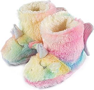 Little Kids 舒适独角兽彩虹拖鞋保暖袜子毛绒一脚蹬男女孩室内和室外