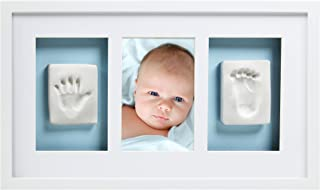 Pearhead Babyprints 新生儿婴儿手印和足印豪华壁照片框架和印象套件 - 是完美的婴儿派对礼物,白色