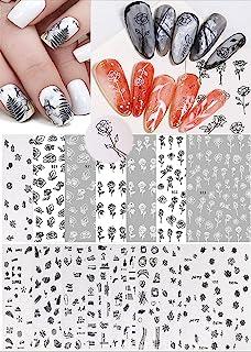 Pybider 15 张 3D 自粘*艺术贴纸,黑白色玫瑰空心花叶夏季风格美甲贴花女士女孩 DIY 美甲艺术装饰