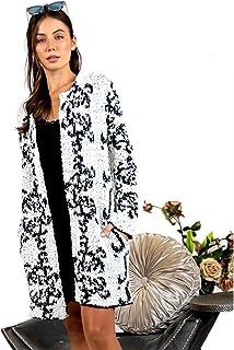 黑白金银丝编织冬季保暖夏尔巴长外套,小号