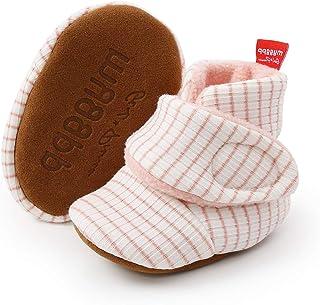 ENERCAKE 男婴女孩短靴带防滑拖鞋新生儿袜婴儿学步冬季鞋男孩女孩 K-white Pink 12-18 Months Toddler