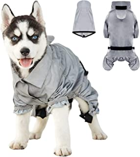 JLYLOL 狗狗雨衣全身反光狗狗连帽雨衣狗狗防雨夹克适合小型中大型犬,可调节防水宠物雨衣