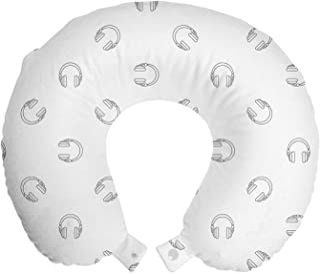 Ambesonne 音乐旅行枕颈枕,耳机插图现代音频旋律耳机立体声主题绘画,飞机和汽车*泡沫旅行配件,12 英寸(约 30.5 厘米),灰白色