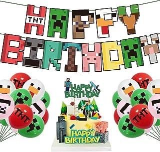 生日派对用品,像素矿工手工风格生日派对装饰男孩和女孩,带有生日快乐横幅、蛋糕和纸杯蛋糕装饰、气球、邀请卡、游戏玩家贴纸