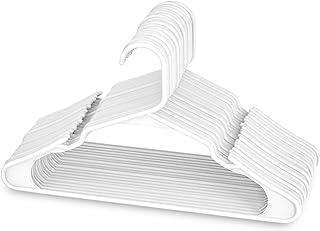 Sharpty 白色衣架 塑料 - 20 个装 - 带缺口肩部的衣服衣架,适合日常标准使用,衣架