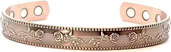 女士铜手链:独特的玫瑰设计铜磁性手链适用于*,男士铜手链,女士铜手链,99.9% 铜,复古古铜饰面