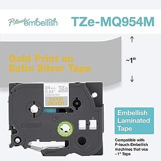 Brother 兄弟 P-Touch 金印缎面银带 TZE-MQ954M - ~1 英寸宽 x 13.1 英寸长(24 毫米 x 4 米)