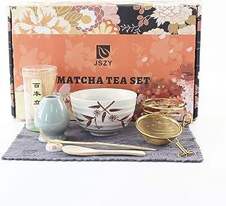 Matcha 茶具套装全套日本搅拌器,竹制搅拌器,陶器碗,竹勺,陶瓷架,不锈钢筛,传统手工仪式抹茶套装礼盒,适合初学者(9 件)(白色)