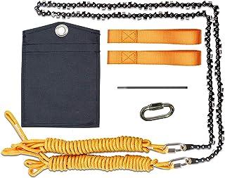 48 英寸 62 齿高触及树肢园艺电锯手绳链锯,适用于户外露营、狩猎、切割树、徒步、背包(48 英寸 - 62 齿橙色)
