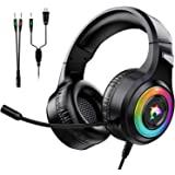 游戏耳机 Xbox One 立体声环绕声 PS4 游戏耳机带麦克风和 LED 灯降噪头戴式耳机兼容 PC、PS4、PS5…