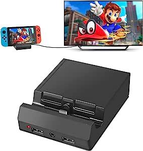 AUTOUTLET 任天堂 Switch 底座开关充电底座4K HDMI 电视适配器便携式开关底座充电底座套装替换带USB 3.0端口3.5耳机插孔的官方 Nintendo Switch Switch