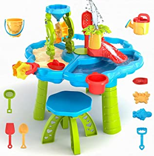 TEMI 3 合 1 沙漏桌,28 件儿童沙滩夏季玩具沙盒桌户外活动感官游戏桌带海豚水轮、模具、桶、铲子,适合幼儿男孩女孩