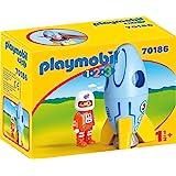 Playmobil 70186 1.2.3 宇航员和航天火箭玩具模型,适合儿童18个月+