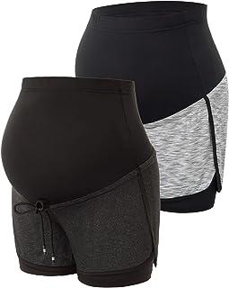 Maacie 女式孕妇短裤瑜伽短裤弹力孕妇短裤