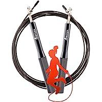 运动跳绳防滑铝制手柄 3M 自由调节长度内置 360° 旋转滚珠轴承便携式加重,适用于拳击MMA 健身训练设备(黑色)
