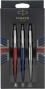 Parker 派克 乔特伦敦三重奏探索套装:圆珠笔(宝蓝色),中性笔(红色肯辛顿)和自动铅笔(不锈钢)