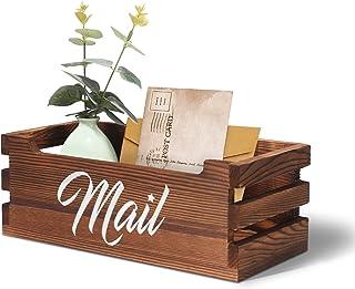 VOOWO 木制邮件收纳盒,装饰邮箱,桌面木质邮件收纳盒,家庭,办公室书桌收纳袋