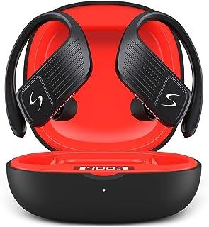 SENSO Wings 无线耳塞,蓝牙 5.0 TWS 真无线耳机,锻炼降噪防汗耳塞,带麦克风,40 小时播放时间,适用于 iPhone、跑步、健身房