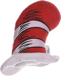 Dr. Seuss 戴帽子的猫毛绒狗玩具   小型狗玩具,6 英寸狗狗玩具帽子来自帽子的猫   来自 Dr. Seuss Collection 的红色和白色条纹填充动物狗狗玩具