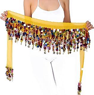 WEKIOOBON 肚皮舞臀围巾,甜美肚皮舞裙裹身性能闪亮亮片硬币,肚皮舞者服装(彩色金)