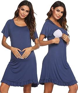 Ekouaer 女式护理睡衣劳动服*孕妇睡衣哺乳睡裙 S-XXL 码