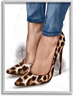 Stupell Industries 时尚动物印花高跟鞋 Poms Ziwei Li 灰色带框墙壁艺术,16 x 20