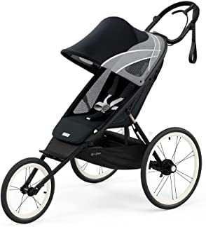 CYBEX AVI 慢跑手推车,带座椅包,全黑色,轻质慢跑手推车,紧凑折叠,平稳骑行悬架和充气轮胎