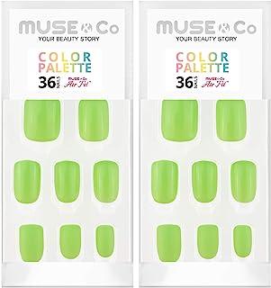 MUSE & Co 粘接凝胶 36 乳* 中等长度光泽哑光奶油绿黄色 热情色盘(2 件装)