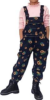 3-8T Little&Big Kids 女孩连体衣和连身裤 背带裤 背带裤 牛仔裤 裤子