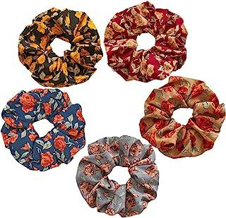 5 件复古大花辫适用于秋季发饰,复古玫瑰叶发绳弹性感恩节礼品发带马尾辫支架,适合女士女孩