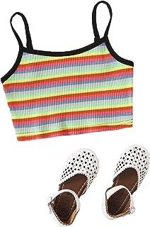 Romwe 女童罗纹彩虹条纹无袖林露脐吊带背心