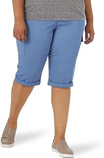 Lee 女式加大码弹性工装宽松七分裤