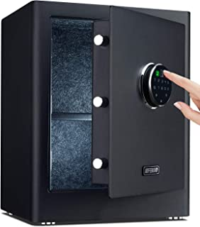 AIFEIBAO 豪华小型家庭*保险箱,带生物指纹锁,电子数字代码,存储现金,珠宝,手枪,弹药,贵重物品(黑色1.4立方英尺)