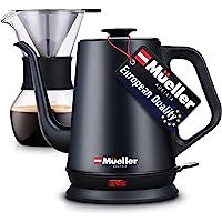 Mueller 电动鹅颈水壶,倒入咖啡壶和茶壶,可变温度控制,哑光黑
