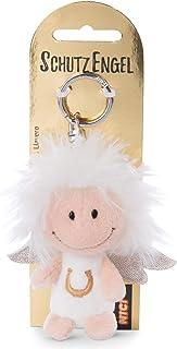 Nici 46120 Pass on You 7 厘米 - 幸运护卫天使钥匙圈适用于挂绳、钥匙链和钥匙链,白色带马蹄形和闪光翅膀