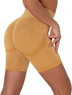 IUSANSPO 女式高腰瑜伽骑行短裤运动健身房褶饰提臀锻炼跑步裤