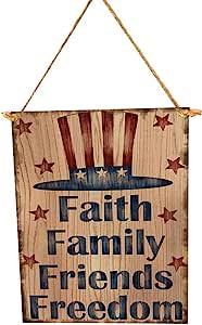 BinaryABC Faith Family Friends Freedom 7 月 4 日爱国木制标志牌匾门壁挂装饰