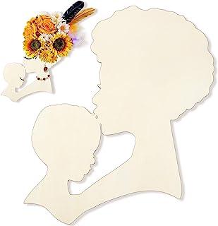 母亲和儿童花环模板 母亲节 DIY 模板 女性 头形 木工艺 母亲节 花环吊坠 工艺装饰制作