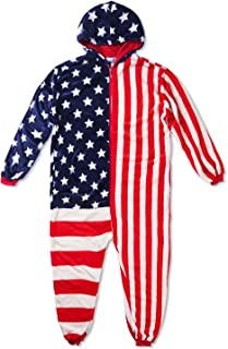 Fleecy USA 连身衣,家居服毛绒连身衣,睡觉聚会中性款服装,美国国旗印花,绒连帽连体睡衣成人、星星和条纹图案 - 各种尺寸可选
