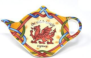 威尔士龙茶包架爱尔兰茶包杯垫威尔士茶壶形状仙鲁休息罐托圣大卫节礼物新骨瓷制成高8.5厘米宽11.5厘米直径4英寸/10厘米
