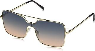 Vince Camuto 女式 VC884 方形金属眉杆防护太阳镜,* 防紫外线,66 毫米
