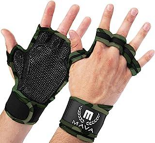 Mava 运动透气锻炼手套,配有综合腕带和全掌硅胶垫。 额外握柄和无指掌。 适合举重、举重、举重、拉力、交叉训练、WOD