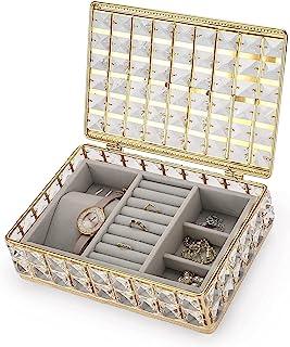 ELLDOO 水晶珠宝盒 带天鹅绒收纳托盘 - 金色饰品收纳盒 用于耳环戒指项链手链,女士女孩的纪念品礼品盒