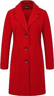 chouyatou 女式大缺口翻领单排扣中长款羊毛混纺大衣