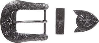 3.81 cm 雕刻西部牛仔长角牛和星形皮带扣套装 用于皮革工艺