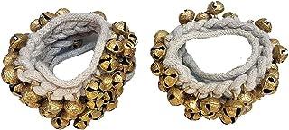 India G Kathak Ghungroo 大铃铛 高品质 棉绳 印度古典舞者 脚链 乐器一对 (25+25)(16 号 Ghungroo)