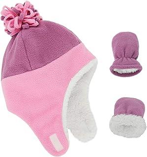 男婴帽子幼儿新生儿帽子夏尔巴内衬保暖羊毛男孩帽子冬季手套套装配件