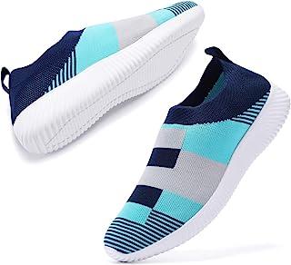 AEMAPE 女式步行鞋轻质网球鞋透气网眼休闲跑步鞋时尚运动鞋一脚蹬袜鞋